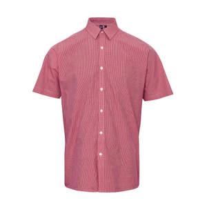 Men`s Microcheck (Gingham) Short Sleeve Shirt Cotton