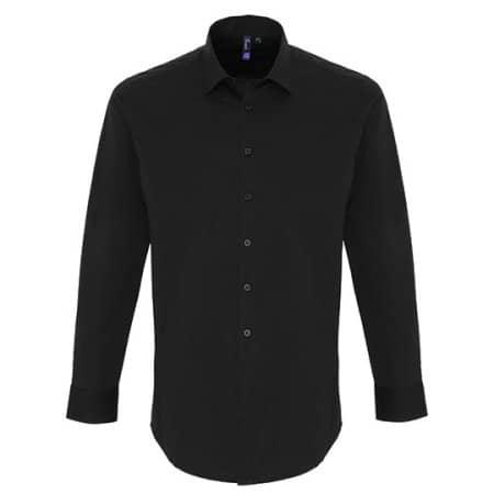 Mens Stretch Fit Poplin Long Sleeve Cotton Shirt in Black von Premier Workwear (Artnum: PW244