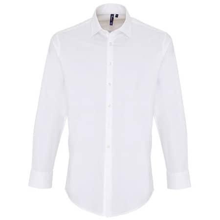 Mens Stretch Fit Poplin Long Sleeve Cotton Shirt in White von Premier Workwear (Artnum: PW244