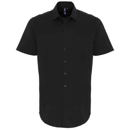 Mens Stretch Fit Cotton Poplin Short Sleeve Shirt in Black von Premier Workwear (Artnum: PW246