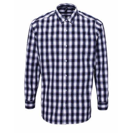 Men`s Mulligan Check Cotton Long Sleeve Shirt in White Navy von Premier Workwear (Artnum: PW250