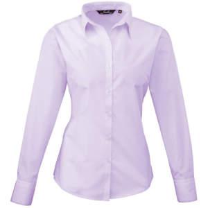 Ladies` Poplin Long Sleeve Blouse