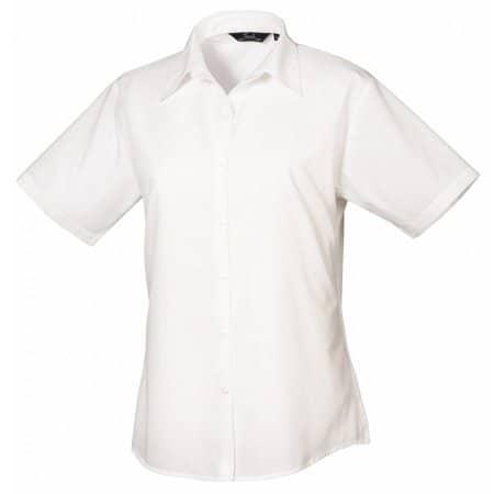 Ladies` Poplin Short Sleeve Blouse in White von Premier Workwear (Artnum: PW302