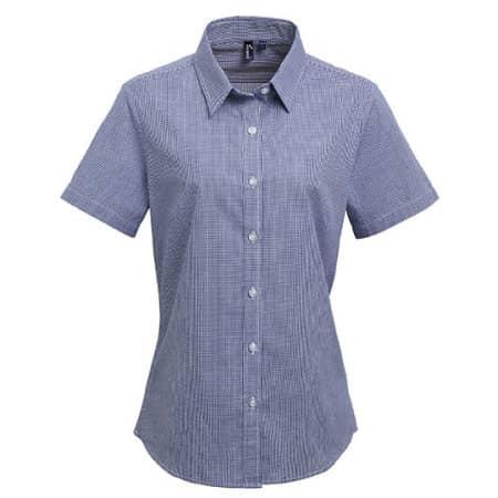 Ladies` Microcheck (Gingham) Short Sleeve Shirt Cotton von Premier Workwear (Artnum: PW321