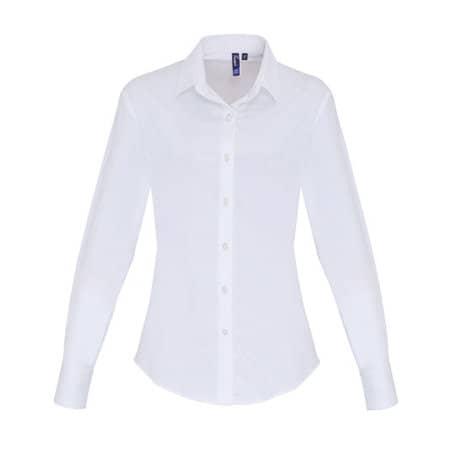 Ladies Stretch Fit Cotton Poplin Long Sleeve Shirt in White von Premier Workwear (Artnum: PW344