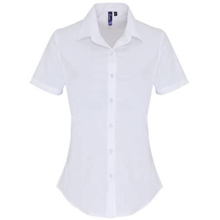 Ladies Stretch Fit Cotton Poplin Short Sleeve Shirt von Premier Workwear (Artnum: PW346