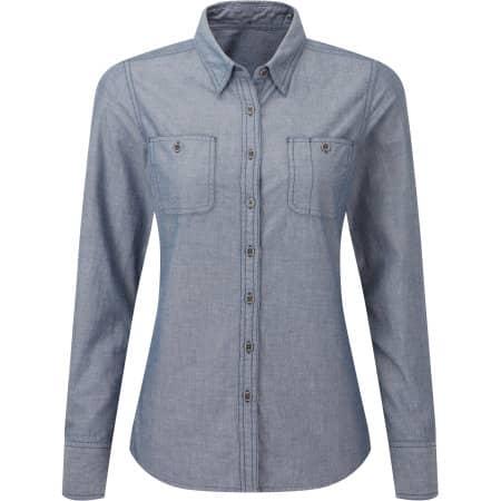 Women`s Organic Chambray Fairtrade Long Sleeve Shirt von Premier Workwear (Artnum: PW347