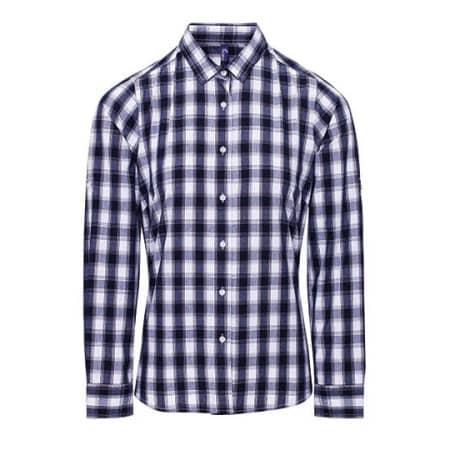 Ladies` Mulligan Check Cotton Long Sleeve Shirt in White|Navy von Premier Workwear (Artnum: PW350