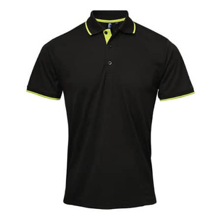 Men`s Contrast Coolchecker Polo in Black Lime (ca. Pantone 382) von Premier Workwear (Artnum: PW618