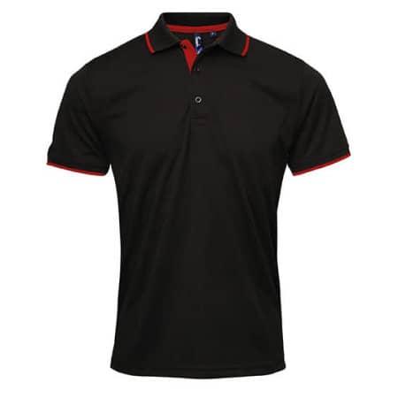 Men`s Contrast Coolchecker Polo in Black|Red (ca. Pantone 200) von Premier Workwear (Artnum: PW618