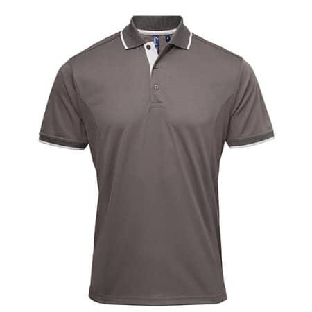 Men`s Contrast Coolchecker Polo in Dark Grey (ca. Pantone 424)|Silver (ca. Pantone 428) von Premier Workwear (Artnum: PW618