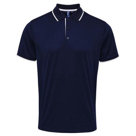Men`s Contrast Coolchecker Polo in Navy|White von Premier Workwear (Artnum: PW618