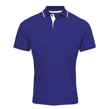 Men`s Contrast Coolchecker Polo in Royal (ca. Pantone 286)|White von Premier Workwear (Artnum: PW618