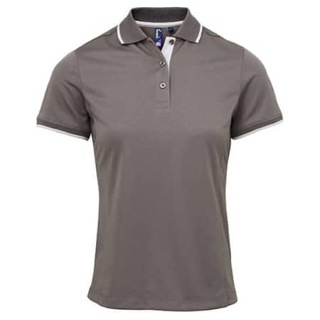 Ladies` Contrast Coolchecker Polo in Dark Grey (ca. Pantone 424) Silver (ca. Pantone 428) von Premier Workwear (Artnum: PW619