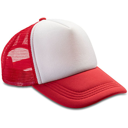 Detroit 1/2 Mesh Truckers Cap in Red|White von Result Headwear (Artnum: RH089