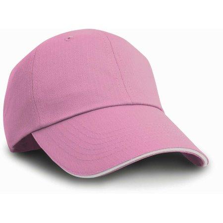 Herringbone Cap with Sandwich Peak in Pink|White von Result Headwear (Artnum: RH38