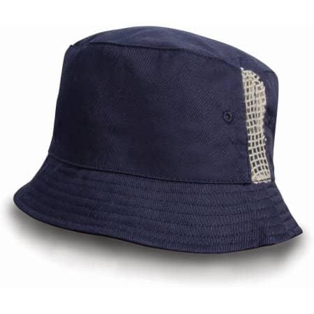Deluxe Washed Cotton Bucket Hat with Side Mesh Panels von Result Headwear (Artnum: RH45