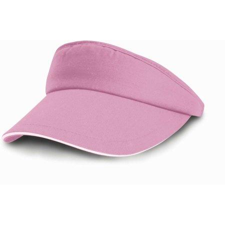 Herringbone Sun Visor in Pink|White von Result Headwear (Artnum: RH48