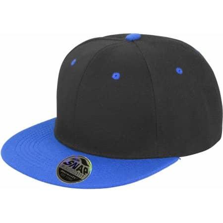 Bronx Dual Colour Cap in Black|Azure von Result Headwear (Artnum: RH82