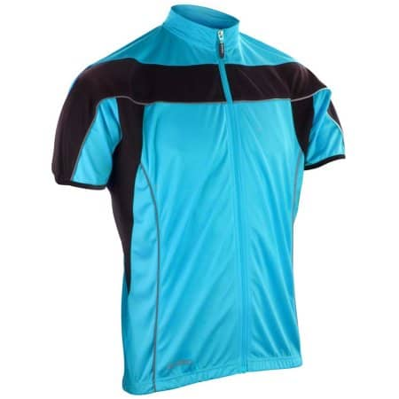 Men`s Bikewear Full Zip Performance Top in Aqua|Black von SPIRO (Artnum: RT188M