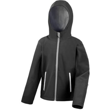 Junior Hooded Soft Shell Jacket in Black|Grey von Result Core (Artnum: RT224J