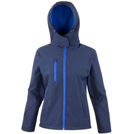 Ladies` TX Performance Hooded Soft Shell Jacket in Navy|Royal von Result Core (Artnum: RT230F