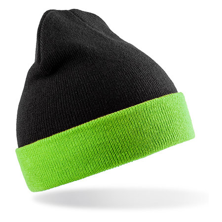 Recycled Black Compass Beanie in Black|Lime von Result Genuine Recycled (Artnum: RT930