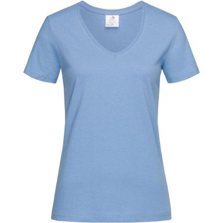 Classic-T V-Neck for women in Light Blue von Stedman® (Artnum: S279