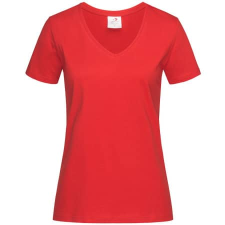 Classic-T V-Neck for women in Scarlet Red von Stedman® (Artnum: S279