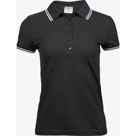 Ladies` Luxury Stripe Stretch Polo in Black|White von Tee Jays (Artnum: TJ1408