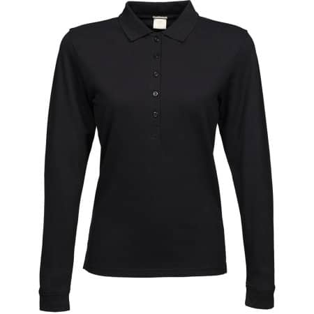 Ladies` Luxury Stretch Long Sleeve Polo in Black von Tee Jays (Artnum: TJ146