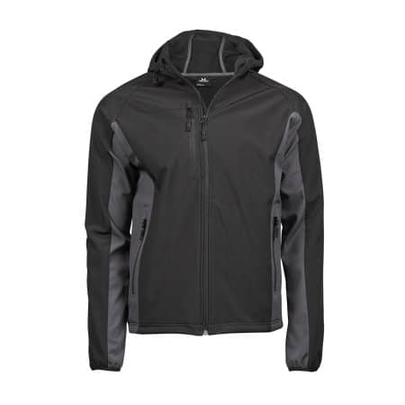 Hooded Lightweight Performance Softshell in Black|Dark Grey (Solid) von Tee Jays (Artnum: TJ9514N
