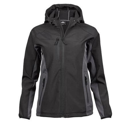 Ladies` Hooded Lightweight Performance Softshell in Black|Dark Grey (Solid) von Tee Jays (Artnum: TJ95150
