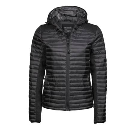 Ladies` Hooded Aspen Crossover Jacket in Black|Black Melange von Tee Jays (Artnum: TJ9611