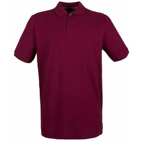 Modern Fit Cotton Microfine-Piqué Polo Shirt in Burgundy von Henbury (Artnum: W101