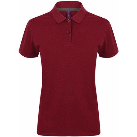 Ladies` Microfine-Piqué Polo Shirt in Burgundy von Henbury (Artnum: W102