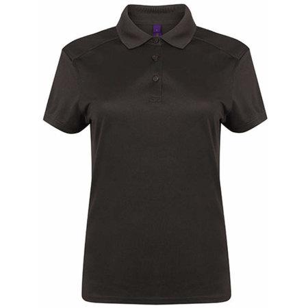 Ladies` Stretch Polo Shirt + Wick Finish in Dark Grey (Solid) von Henbury (Artnum: W461