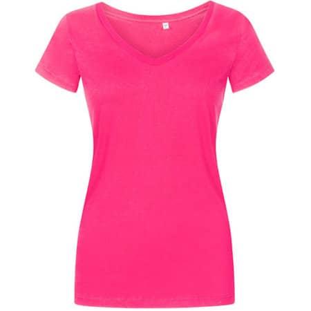 Women´s V-Neck T-Shirt in Bright Rose von X.O by Promodoro (Artnum: XO1525