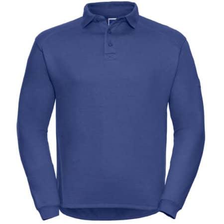 Workwear-Sweatshirt mit Kragen und Knopfleiste in Bright Royal von Russell (Artnum: Z012