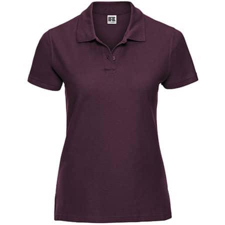 Ladies` Ultimate Cotton Polo in Burgundy von Russell (Artnum: Z577F