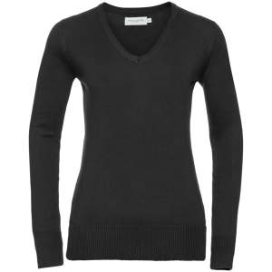 Ladies` V-Neck Knitted Jumper