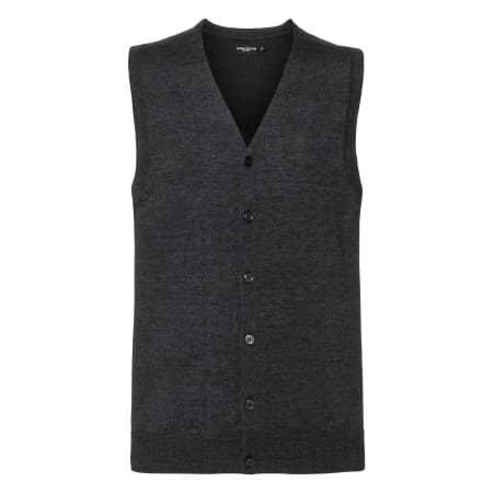 Men`s V-Neck Sleeveless Knitted Cardigan von Russell Collection (Artnum: Z719M