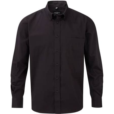 Men`s Long Sleeve Classic Twill Shirt in Black von Russell Collection (Artnum: Z916