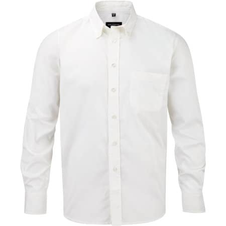 Men`s Long Sleeve Classic Twill Shirt in White von Russell Collection (Artnum: Z916