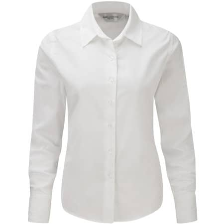 Ladies` Long Sleeve Classic Twill Shirt in White von Russell Collection (Artnum: Z916F