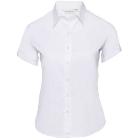 Ladies` Short Sleeve Classic Twill Shirt in White von Russell Collection (Artnum: Z917F