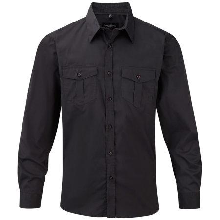 Men`s Roll Long Sleeve Twill Shirt von Russell Collection (Artnum: Z918