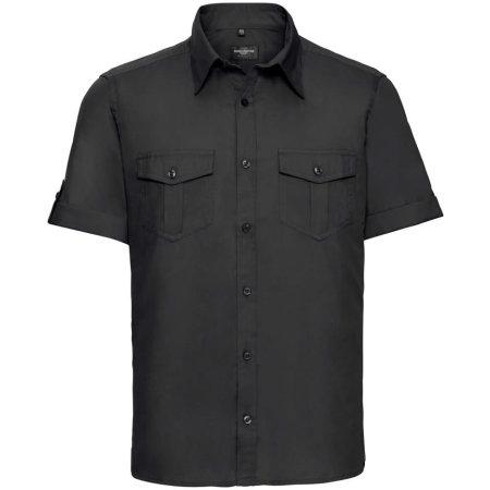 Men`s Roll Short Sleeve Twill Shirt in Black von Russell Collection (Artnum: Z919