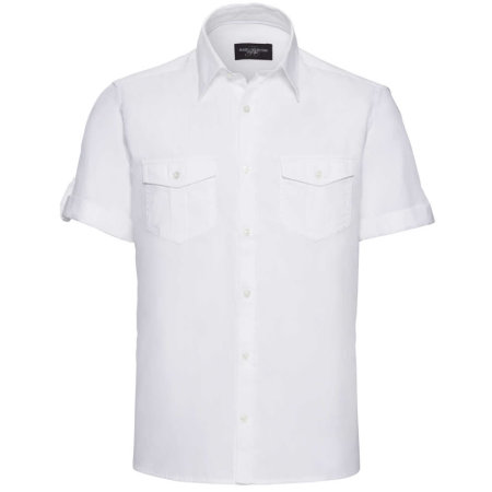 Men`s Roll Short Sleeve Twill Shirt in White von Russell (Artnum: Z919