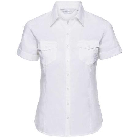 Ladies` Roll Short Sleeve Twill Shirt von Russell Collection (Artnum: Z919F